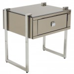 NEW YORK MIRRORED BRONZE BEDSIDE TABLE  - 41140