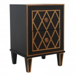 CRISS CROSS BLACK AND GOLD BEDSIDE TABLE - 41165