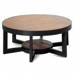 CCF2559-NI 90cm Reclaimed Pine Coffee Table - Black Base