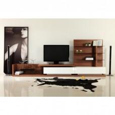 TV Unit With Shelves - Lowline - Walnut