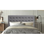 ITALIAN DESIGN NEW AMELIA KING SIZE GREY QUALITY FABRIC LINEN WOODEN BED HEAD BOARD