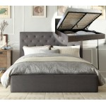 ITALIAN DESIGN NEW GASLIFT CHESTER QUEEN SIZE GREY FRABIC WOODEN BED FRAME