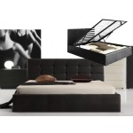 Italian Design Milan Queen Gas Lift Ottoman Storage Bed Frame Pu Leather Black